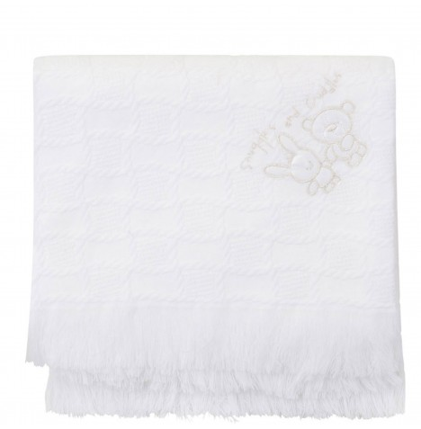 Bee Bo Cuddles And Snuggles Baby Blanket Shawl - White