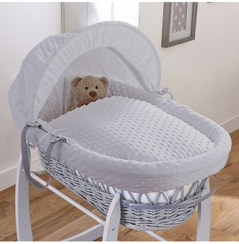 Clair De Lune Padded Grey Wicker Baby Moses Basket - Dimple Grey