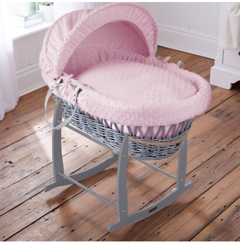 Clair De Lune Padded Grey Wicker Moses Basket & Deluxe Rocking Stand - Dimple Pink