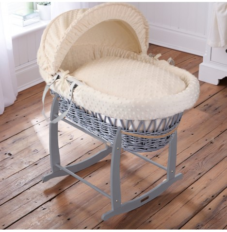 Clair De Lune Padded Grey Wicker Moses Basket & Deluxe Rocking Stand - Dimple Cream