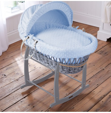 Clair De Lune Padded Grey Wicker Moses Basket & Deluxe Rocking Stand - Dimple Blue