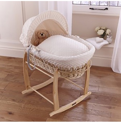 Clair De Lune Padded Natural Wicker Moses Basket & Deluxe Rocking Stand - Dimple Cream