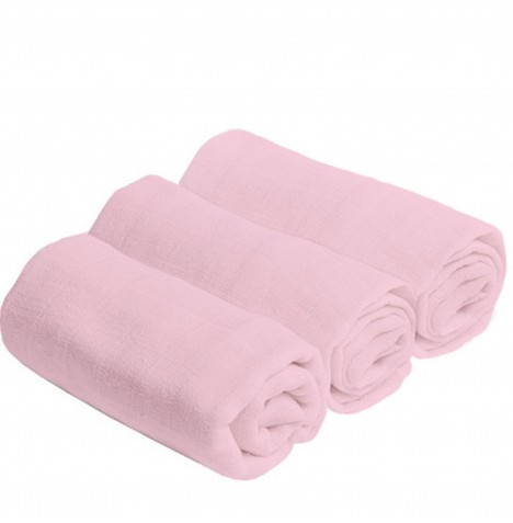Bee Bo Cotton Muslin Squares (3 Pack) - Pink