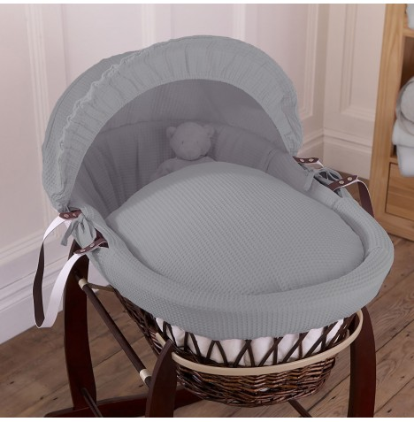 Clair De Lune Padded Dark Wicker Moses Basket - Waffle Grey