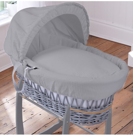 Clair De Lune Padded Grey Wicker Moses Basket - Waffle Grey