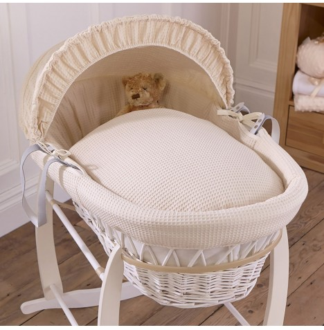 Clair De Lune Padded White Wicker Moses Basket - Waffle Cream