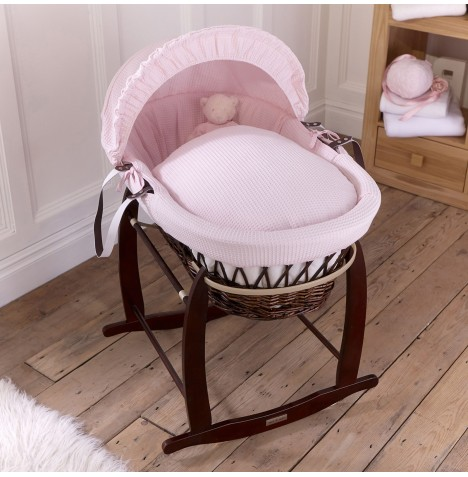 Clair De Lune Padded Dark Wicker Moses Basket & Deluxe Rocking Stand - Waffle Pink