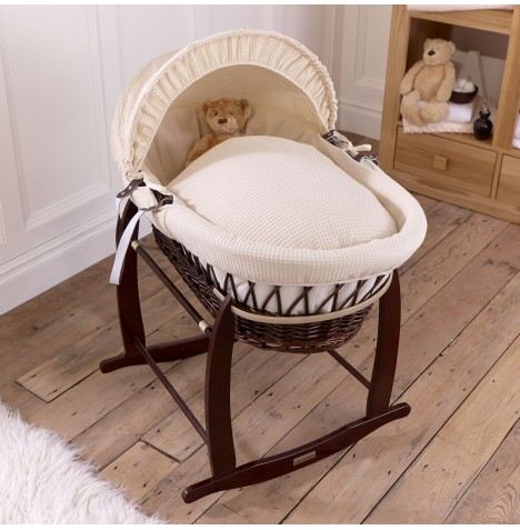 Clair De Lune Padded Dark Wicker Moses Basket & Deluxe Rocking Stand - Waffle Cream