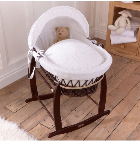 Clair De Lune Padded Dark Wicker Moses Basket & Deluxe Rocking Stand - Waffle White