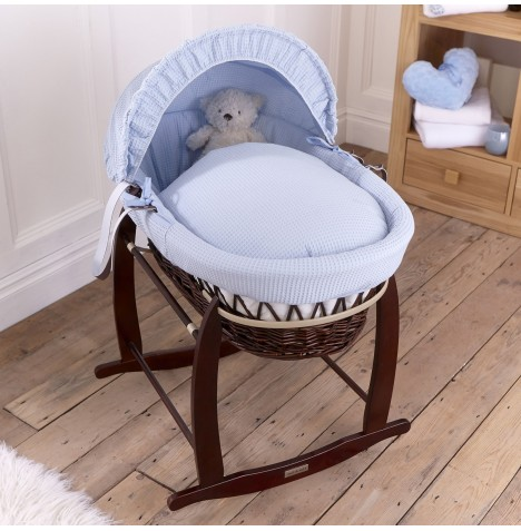 Clair De Lune Padded Dark Wicker Moses Basket & Deluxe Rocking Stand - Waffle Blue