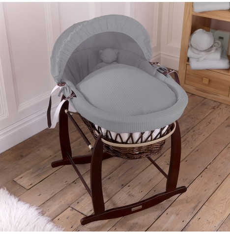 Clair De Lune Padded Dark Wicker Moses Basket & Deluxe Rocking Stand - Waffle Grey