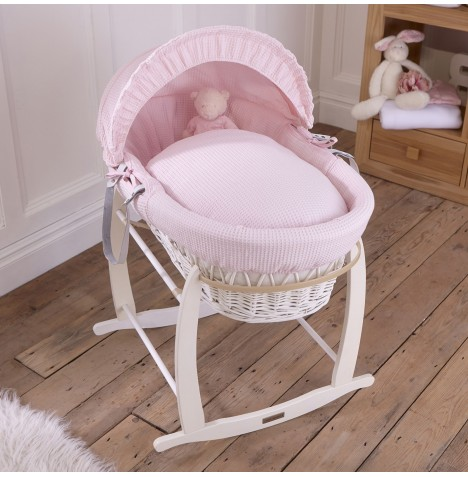 Clair De Lune Padded White Wicker Moses Basket & Deluxe Rocking Stand - Waffle Pink