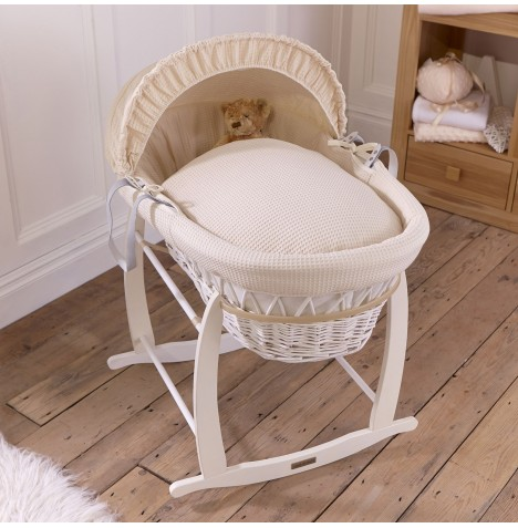 Clair De Lune Padded White Wicker Moses Basket & Deluxe Rocking Stand - Waffle Cream