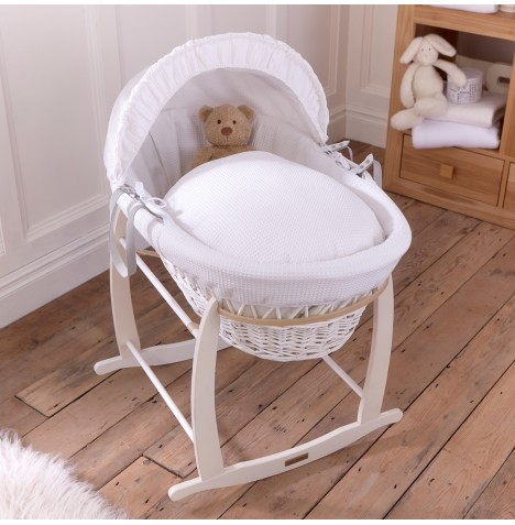 Clair De Lune Padded White Wicker Moses Basket & Deluxe Rocking Stand - Waffle White