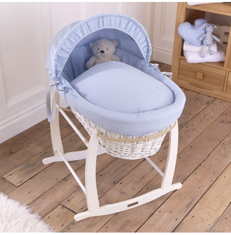 Clair De Lune Padded White Wicker Moses Basket & Deluxe Rocking Stand - Waffle Blue