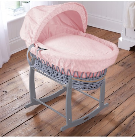 Clair De Lune Padded Grey Wicker Moses Basket & Deluxe Rocking Stand - Waffle Pink
