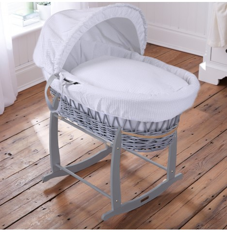 Clair De Lune Padded Grey Wicker Moses Basket & Deluxe Rocking Stand - Waffle White