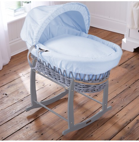 Clair De Lune Padded Grey Wicker Moses Basket & Deluxe Rocking Stand - Waffle Blue