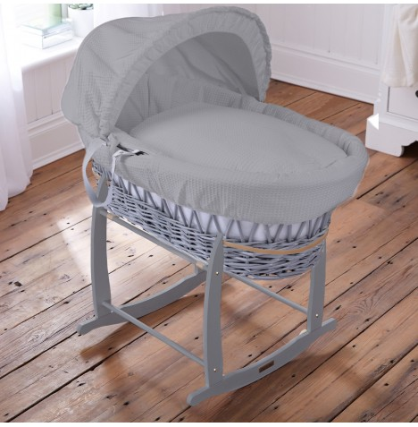 Clair De Lune Padded Grey Wicker Moses Basket & Deluxe Rocking Stand - Waffle Grey