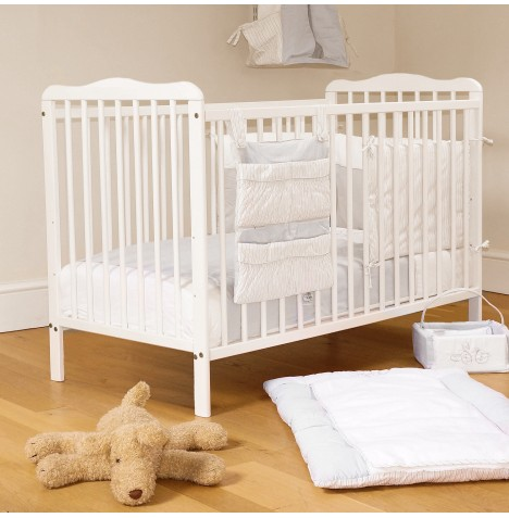 4Baby Solid Wood Eva Classic Cot With Sprung Mattress - White