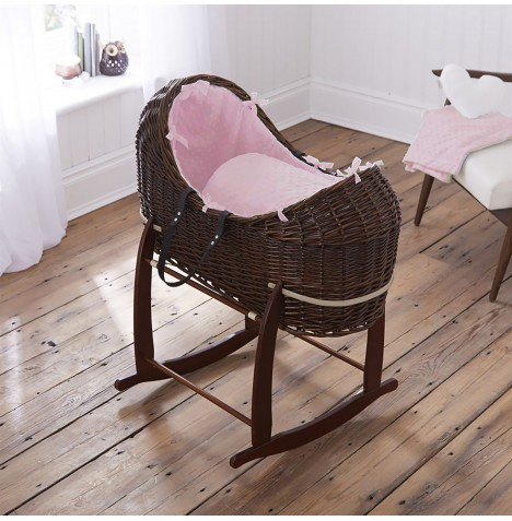 Clair De Lune Dark Wicker Noah Pod & Deluxe Rocking Stand - Dimple Pink