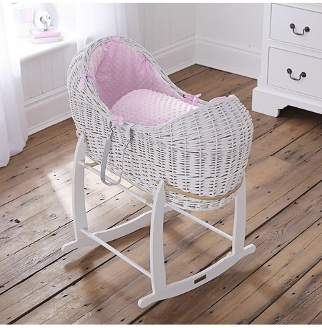 Clair De Lune White Wicker Noah Pod & Deluxe Rocking Stand - Dimple Pink