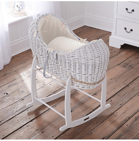 Clair De Lune White Wicker Noah Pod & Deluxe Rocking Stand - Dimple Cream