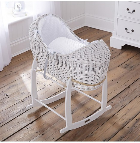 Clair De Lune White Wicker Noah Pod & Deluxe Rocking Stand - Dimple White