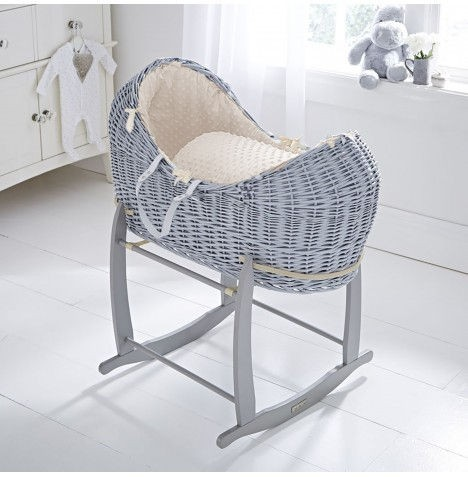 Clair De Lune Grey Wicker Noah Pod & Deluxe Rocking Stand - Dimple Cream