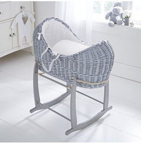 Clair De Lune Grey Wicker Noah Pod & Deluxe Rocking Stand - Dimple White
