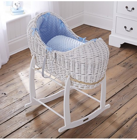 Clair De Lune White Wicker Noah Pod & Deluxe Rocking Stand - Dimple Blue