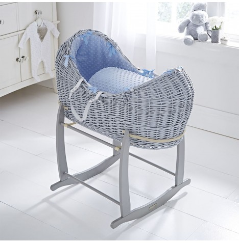Clair De Lune Grey Wicker Noah Pod & Deluxe Rocking Stand - Dimple Blue