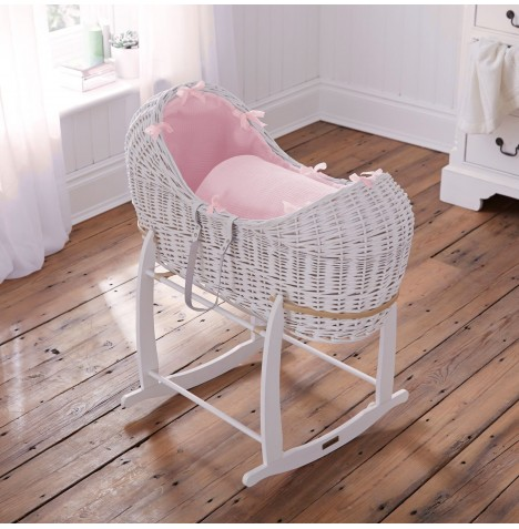 Clair De Lune White Wicker Noah Pod & Deluxe Rocking Stand - Waffle Pink