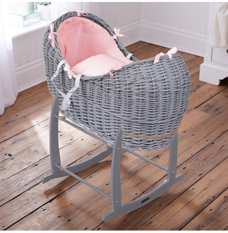 Clair De Lune Grey Wicker Noah Pod & Deluxe Rocking Stand - Waffle Pink