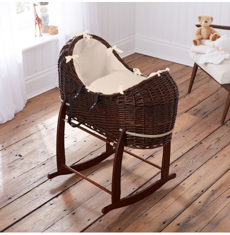 Clair De Lune Dark Wicker Noah Pod & Deluxe Rocking Stand - Waffle Cream