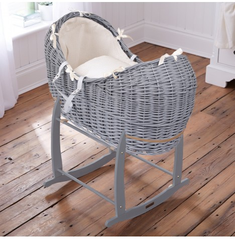 Clair De Lune Grey Wicker Noah Pod & Deluxe Rocking Stand - Waffle Cream