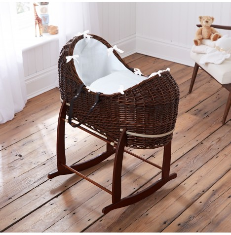 Clair De Lune Dark Wicker Noah Pod & Deluxe Rocking Stand - Waffle White