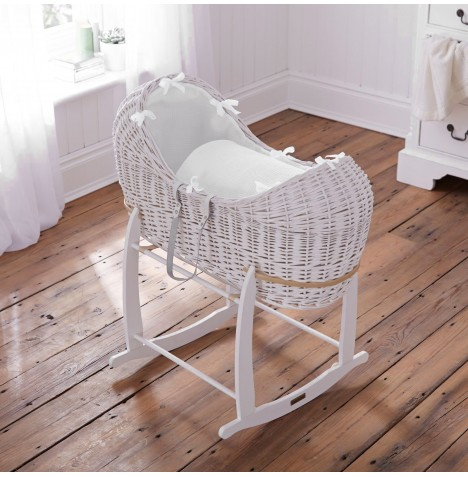Clair De Lune White Wicker Noah Pod & Deluxe Rocking Stand - Waffle White