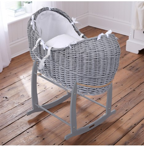 Clair De Lune Grey Wicker Noah Pod & Deluxe Rocking Stand - Waffle White