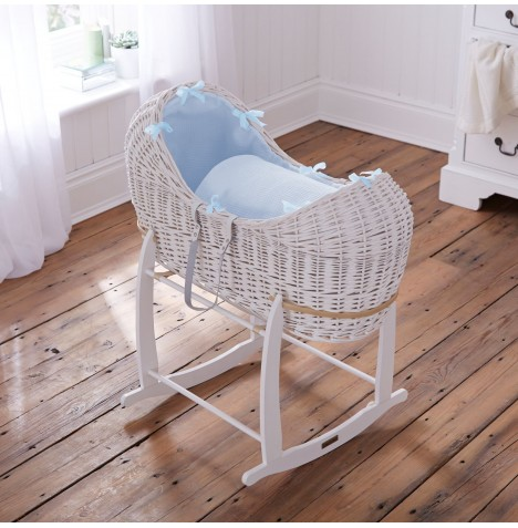 Clair De Lune White Wicker Noah Pod & Deluxe Rocking Stand - Waffle Blue