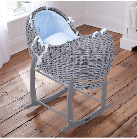 Clair De Lune Grey Wicker Noah Pod & Deluxe Rocking Stand - Waffle Blue