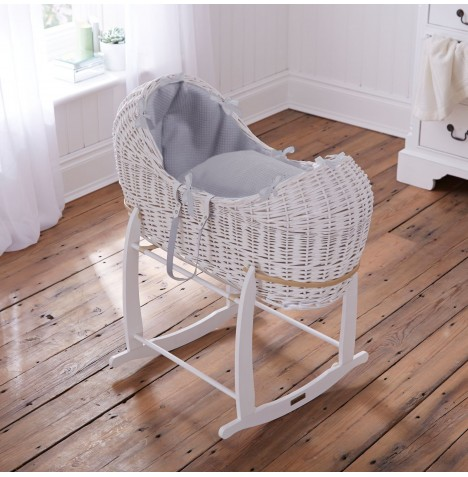 Clair De Lune White Wicker Noah Pod & Deluxe Rocking Stand - Waffle Grey