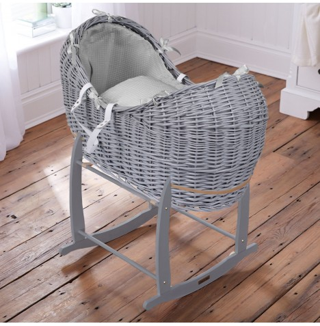 Clair De Lune Grey Wicker Noah Pod & Deluxe Rocking Stand - Waffle Grey