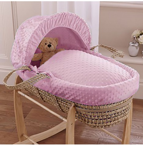 Clair De Lune Palm Moses Basket - Dimple Pink