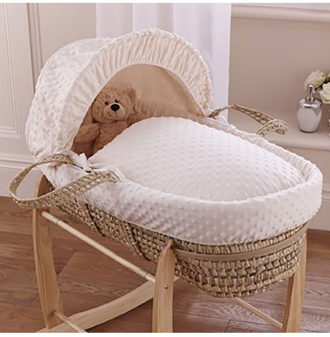 Clair De Lune Palm Moses Basket - Dimple Cream
