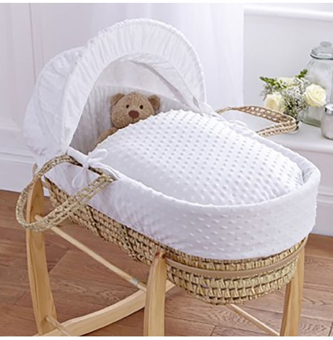 Clair De Lune Palm Moses Basket - Dimple White