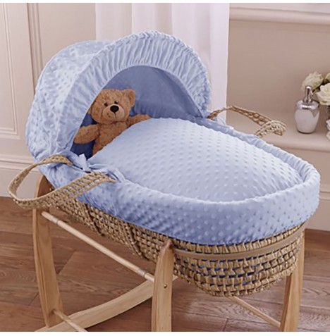 Clair De Lune Palm Moses Basket - Dimple Blue