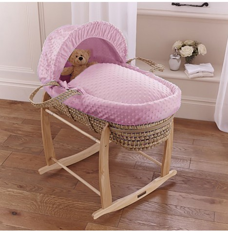 Clair De Lune Palm Moses Basket & Deluxe Rocking Stand - Dimple Pink