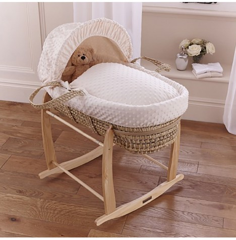 Clair De Lune Palm Moses Basket & Deluxe Rocking Stand - Dimple Cream