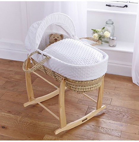 Clair De Lune Palm Moses Basket & Deluxe Rocking Stand - Dimple White